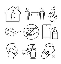 a set simple icons for prevention of vector image