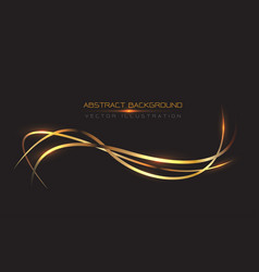 abstract gold line curve light on black vector image