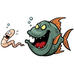 Angry fish vector image