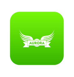 Aurora wing icon green vector