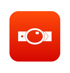 belt with oval shaped buckle icon digital red vector image