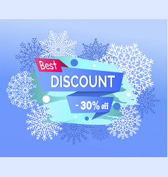 best discount 30 off promotional poster snowflakes vector image