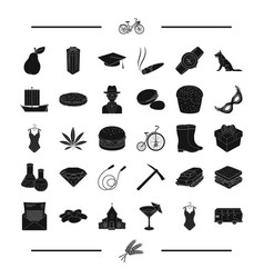 Bread food transport and other web icon in black vector