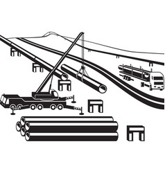 Building above ground pipeline vector