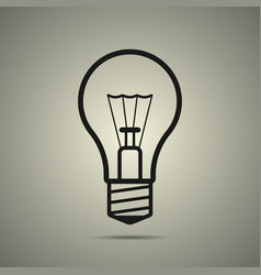 bulb icon in flat style black and white colors vector image