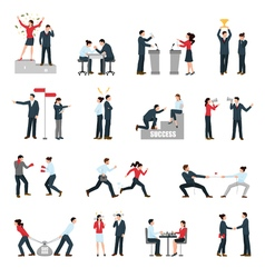 Business Confrontation People Flat Icons Set vector