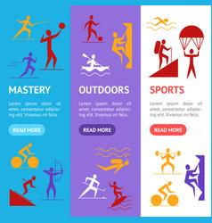 Cartoon outdoor activities sports games banner vector