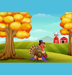 cartoon turkey in farm background vector image