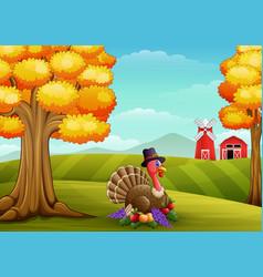 Cartoon turkey in farm background vector