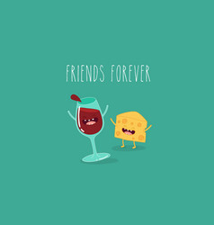 cartoons of comic characters bottle of wine vector image vector image
