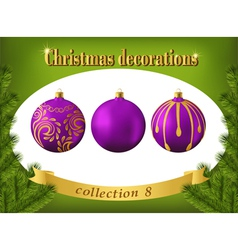 Christmas decorations Collection of violet glass vector image