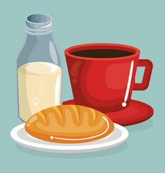 coffee and milk with bread delicious food vector image