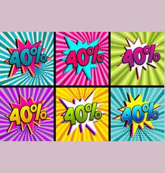 Comic text 40 percent sale set discount vector