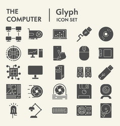 Computer glyph icon set device symbols collection vector