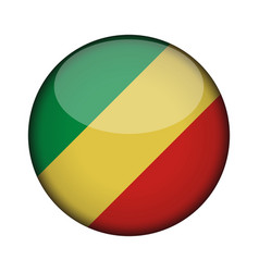 Congo flag in glossy round button of icon congo vector