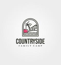 cottage island with sunset icon logo minimal vector image