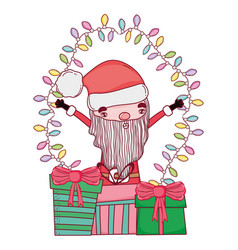 cute christmas santa claus with gifts presents vector image