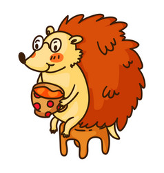 cute hedgehog drinking tea on chair isolated on vector image