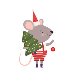 Cute mouse in christmas santa claus costume vector