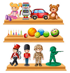 Different dolls and balls on shelves vector