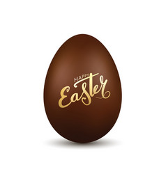 Easter egg 3d chocolate brown egg gold hand vector