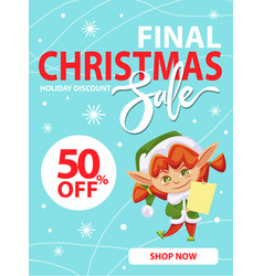 elf advertises christmas sale holiday discounts vector image