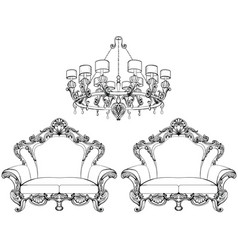 Exquisite fabulous imperial baroque armchair in vector