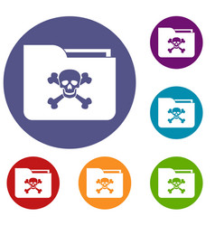 File folder with a skull icons set vector