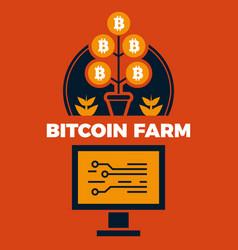 financial concept bitcoin farm vector image