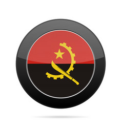 Flag of angola shiny black round button vector