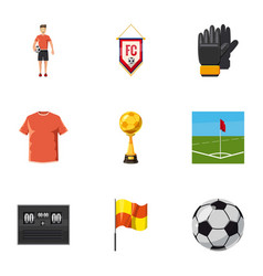 Football icons set cartoon style vector