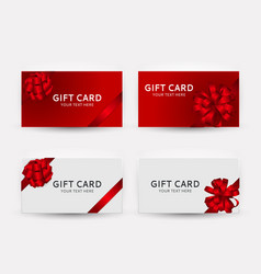 Gift card template collection set with bow and vector