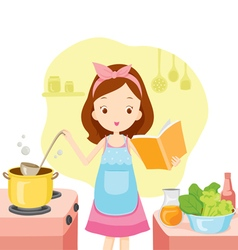 Girl Cooking Soup With Cookbook vector