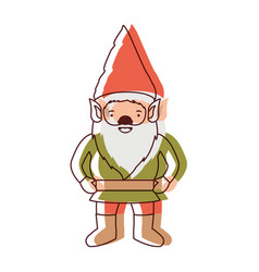 Gnome with costume in watercolor silhouette vector