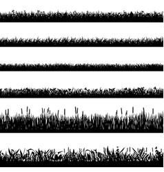 grass border silhouettes black silhouettes vector image