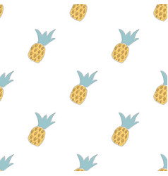 hand drawn seamless pattern with pineapples vector image