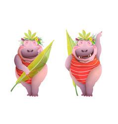 hippopotamus woman funny posing in jungle leaves vector image