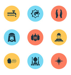 Holiday icons set with wudhu qiblah islamic and vector