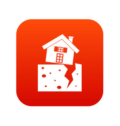 house after an earthquake icon digital red vector image