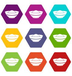 Indian spicy icon set color hexahedron vector
