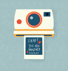Instant camera with a photo and love message vector