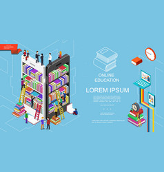 Isometric online education and learning concept vector