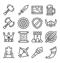 knight medieval history icons set vector image