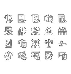 Legal services icon set vector
