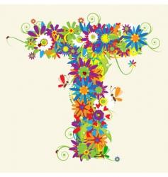 letter T floral design vector image