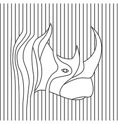 Line drawing rhino head vector