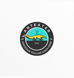 Logo anteater vintage badge vector