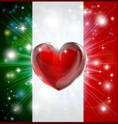 Love italy flag heart background vector