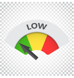 Low level risk gauge icon low fuel on isolated vector