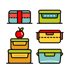 Lunchbox outline icon set vector